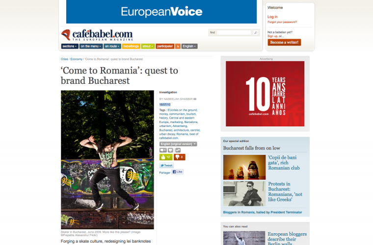 'Come to Romania': quest to brand Bucharest, Cafebabel, 16 iulie 2010
