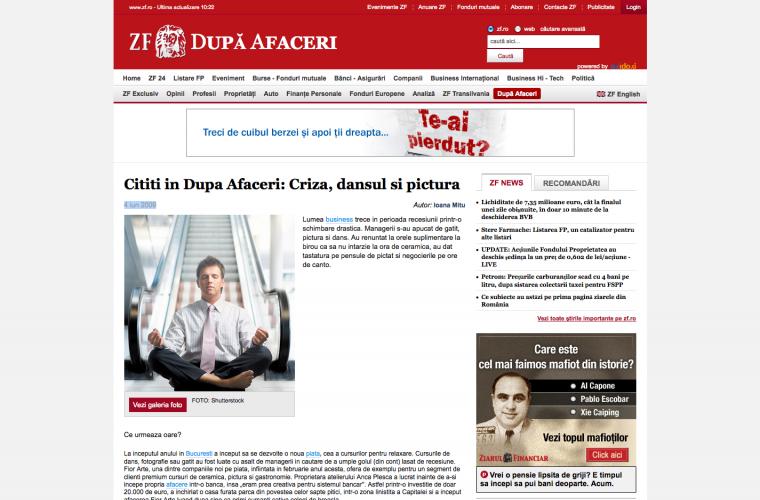 Cititi in Dupa Afaceri: Criza, dansul si pictura, Ziarul Financiar, 4 iunie 2009