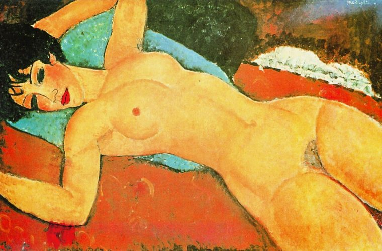 reclining-nude-on-a-blue-cushion-red-nude