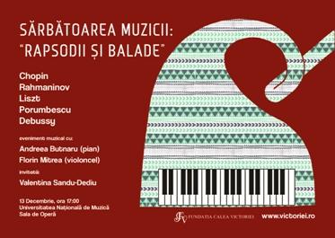 """Sărbătoarea muzicii: """"Rapsodii şi Balade"""", Chopin, Rahmaninov, Liszt, C. Porumbescu şi Debussy"""