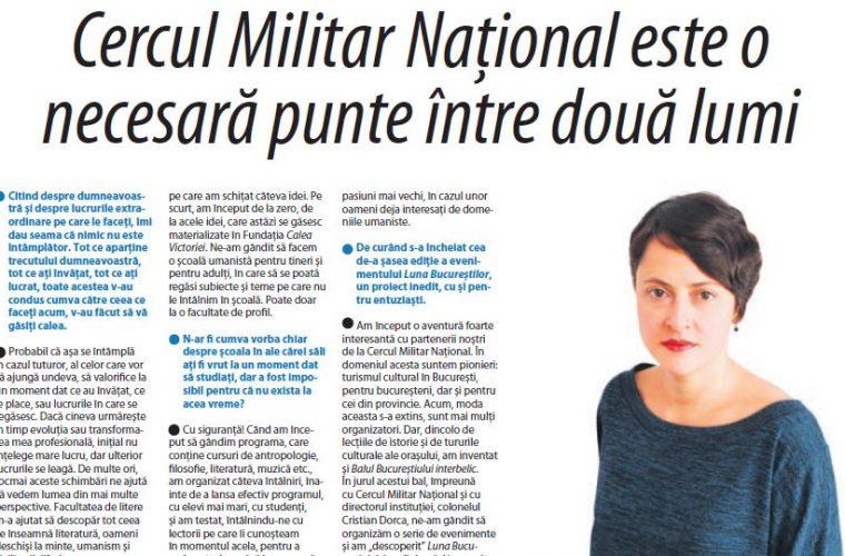 Interviu acordat de Sandra Ecobescu pentru Observatorul militar